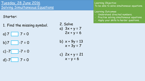 Consolidating Simultaneous Equations