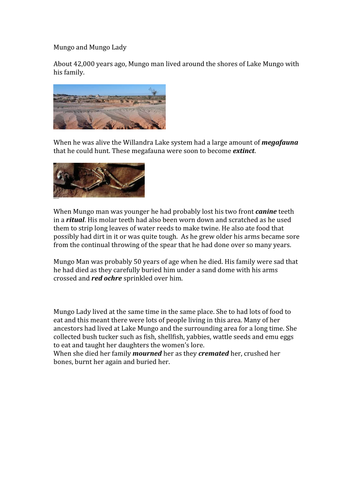 Mungo man and lady - comprehension - easy