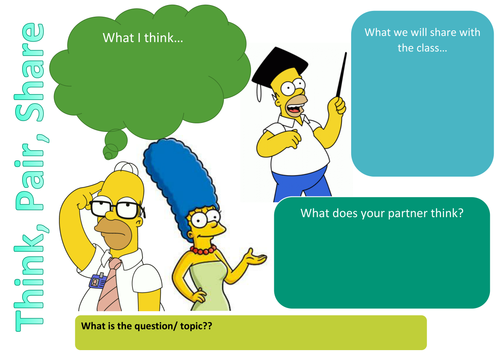 Think Pair Share Place mat Simpsons by Helayna Teaching – Think Pair Share Worksheet
