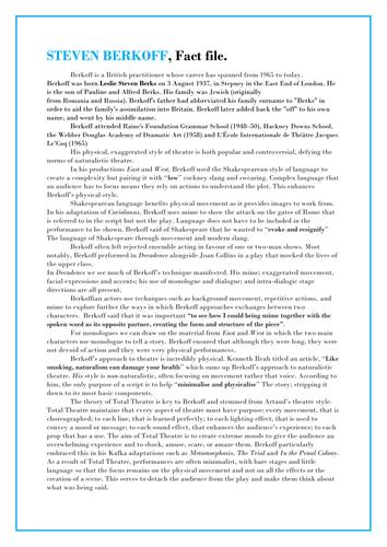 AQA A-Level Drama NEW SPEC- List B Text: Metamorphosis