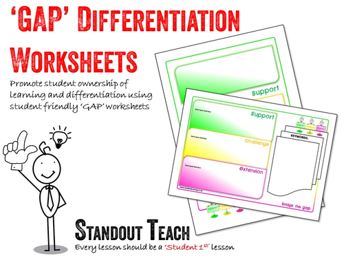 Adaptable worksheets using the  'GAP' differentiation strategy