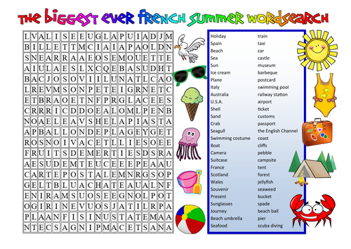 BIGGEST FRENCH SUMMER WORDSEARCH!