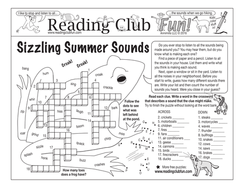 Bundle: Sounds Of Summer And Animals Two-Page Activity Set