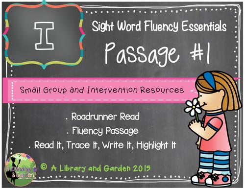 Sight Word Fluency Passage #1: I FREEBIE