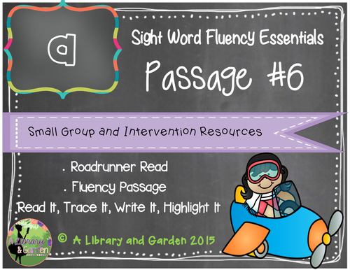 Sight Word Fluency Passage #6: A