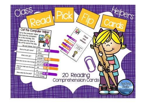 Classroom Helpers Read Pick Flip Cards