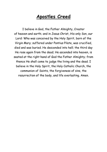 Christian Creeds. The Nicene and Apostles Creed. Design your own!
