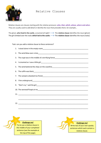 Relative Clauses - year 7 - SPAG - English