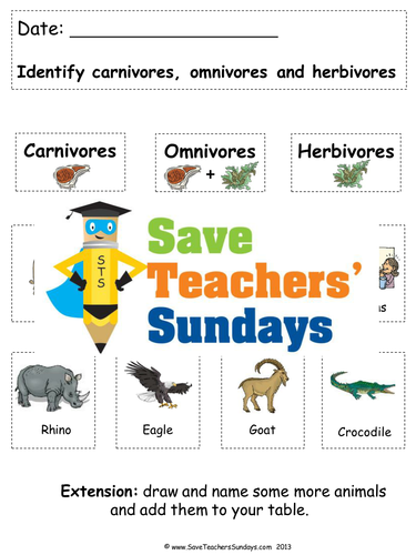 carnivore, herbivore and omnivore cards for sorting activity by ...