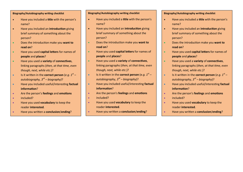 Checklists for students writing for purpose