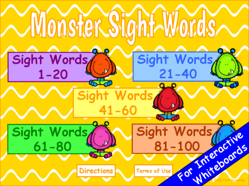 Monster Sight Words PowerPoint Game