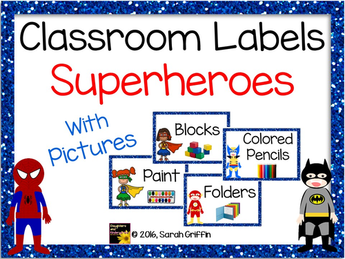 Superhero Classroom Labels with Pictures