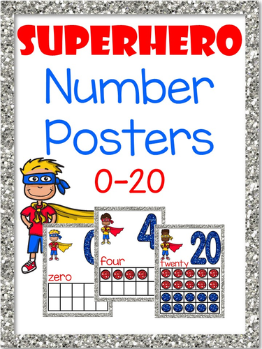 Superhero Number Posters with Tens Frames