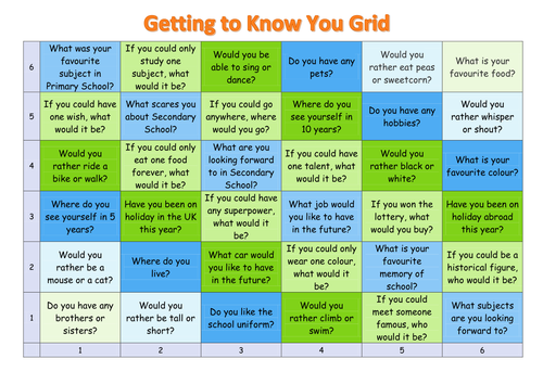 Getting to know you grid - suitable for year 7 inductions