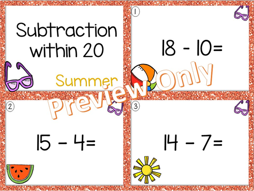 Math Task Cards - Subtraction from 20 - Summer Theme
