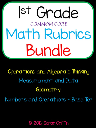 1st Grade Math Rubrics for Common Core