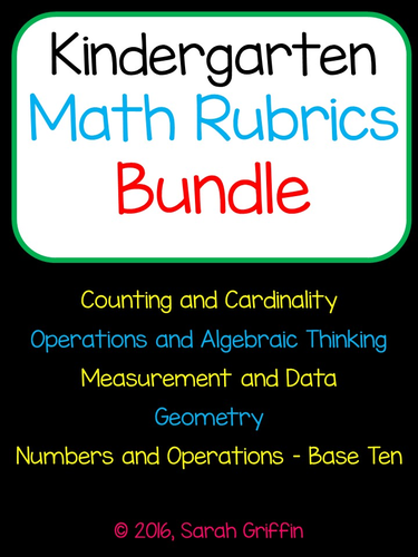 Kindergarten Math Rubrics for Common Core