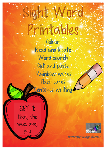 Sight Words Printables Set 1: that,the, was, and, you