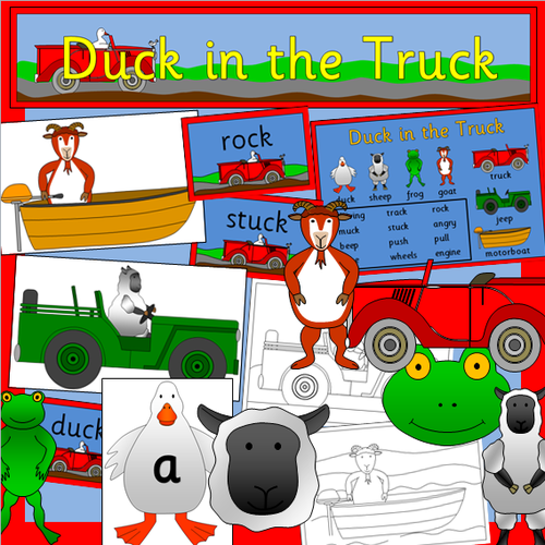 Duck in the Truck story pack- rhyming words
