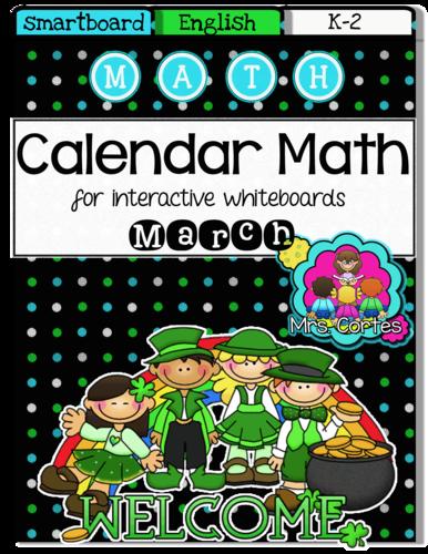SMARTBOARD Calendar Math- March (English)