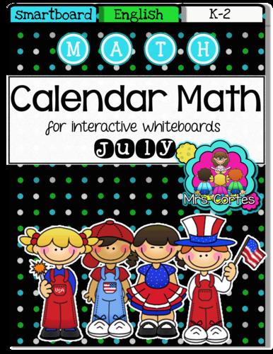 SMARTBOARD Calendar Math- July (English)