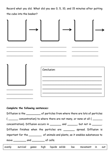 Diffusion worksheet by tessbamber - Teaching Resources - Tes