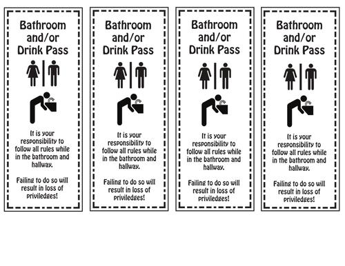 Bathroom Drink Passes Passes Per Sheet By Mrsbsbest Teaching
