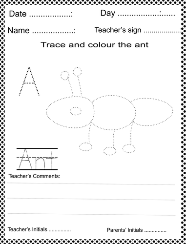 trace and colour the ant