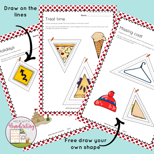 Pencil control worksheets - Triangle and Diamond shapes
