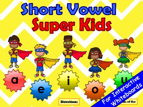 Short Vowels Super Kids  PowerPoint Game