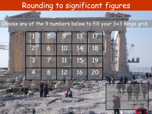 Rounding to one, two or three significant figures Bingo