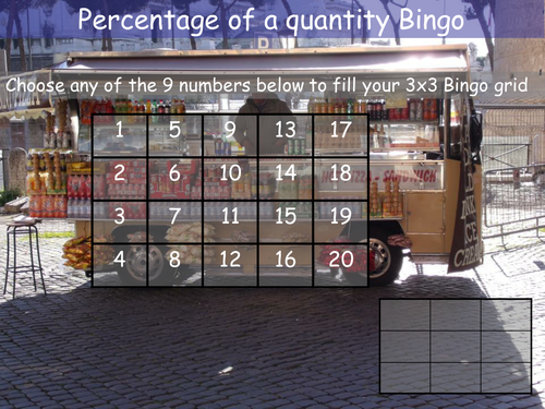 Percentage of a quantity Bingo