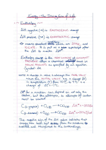 Enthalpy/Energy/Hess's Law/Thermodynamics Hand written revision Notes