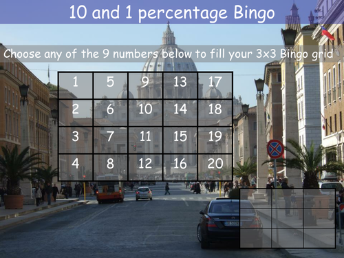 Percentages. Finding 10% and 1% of an amount Bingo