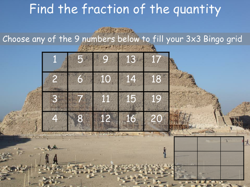 Fraction of a quantity Bingo
