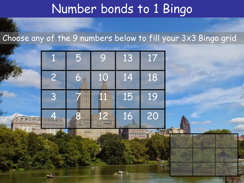 Number bonds to 1 Bingo