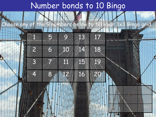 Number bonds to 10 Bingo