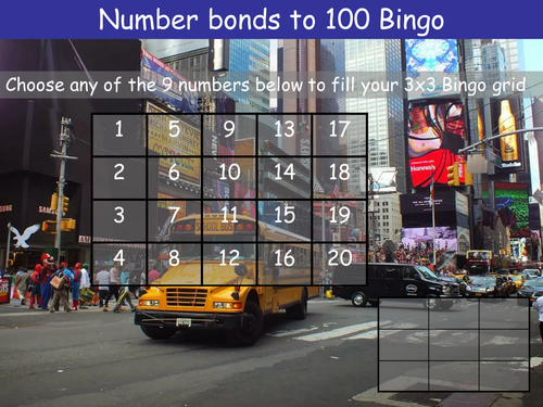 Number bonds to 100 Bingo