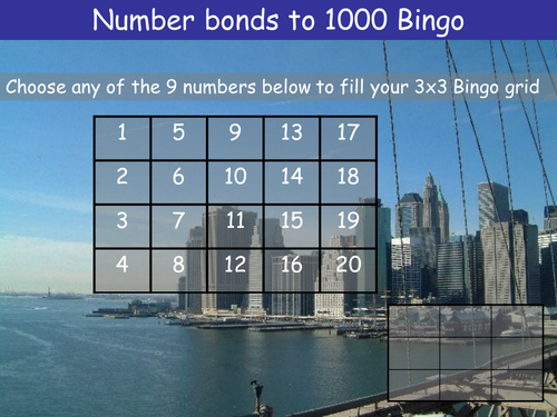 Number bonds to 1000 Bingo