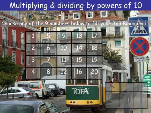 Multiplying and dividing by powers of 10 Bingo