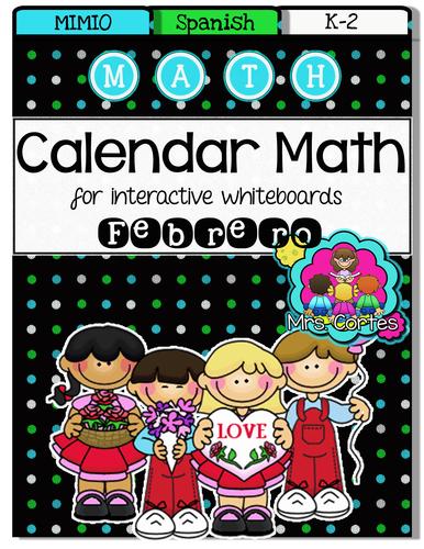 MIMIO Calendar Math- Febrero (Spanish)