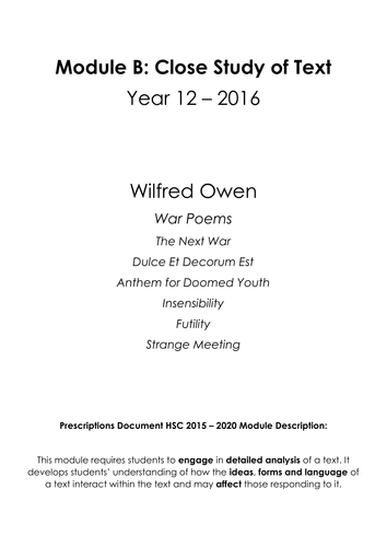 Wilfred Owen War Poems 2015 2020 Hsc Prescriptions