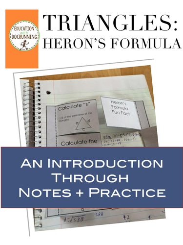Heron's Formula: Interactive Notebook Notes and Practice for Heron's Formula