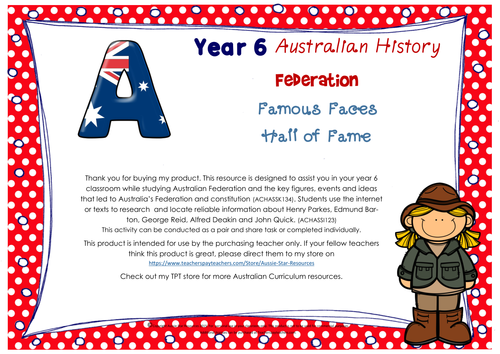 Year 6 Australian History Hall of Fame - Famous Faces of Federation