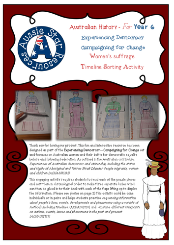 Year 6 Australian History Democracy - Campaigning for Change - Women's Suffrage.