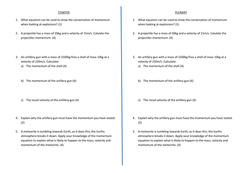 Explosions Conservation of momentum by davidpereira89 Teaching – Worksheet Conservation of Momentum
