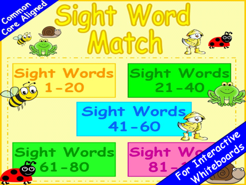Sight Words Match PowerPoint Game