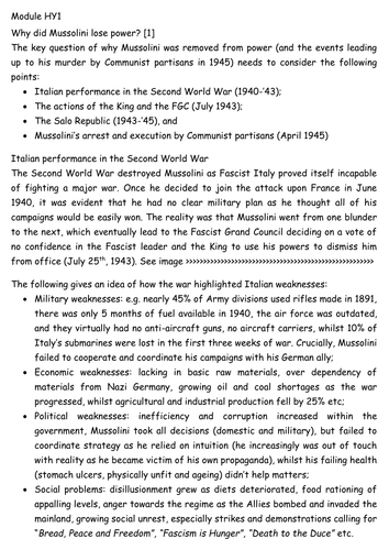 Mussolini - what factors contributed to his downfall in 1943? A level resource pack