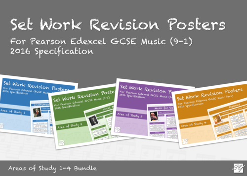 Set Work Revision Posters Bundle for Pearson Edexcel GCSE Music (2016 Specification) - Areas of Study 1-4