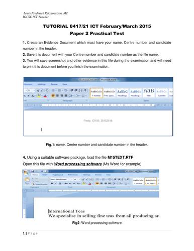 IGCSE ICT Paper 2 Word Processing Feb-Mar 2015